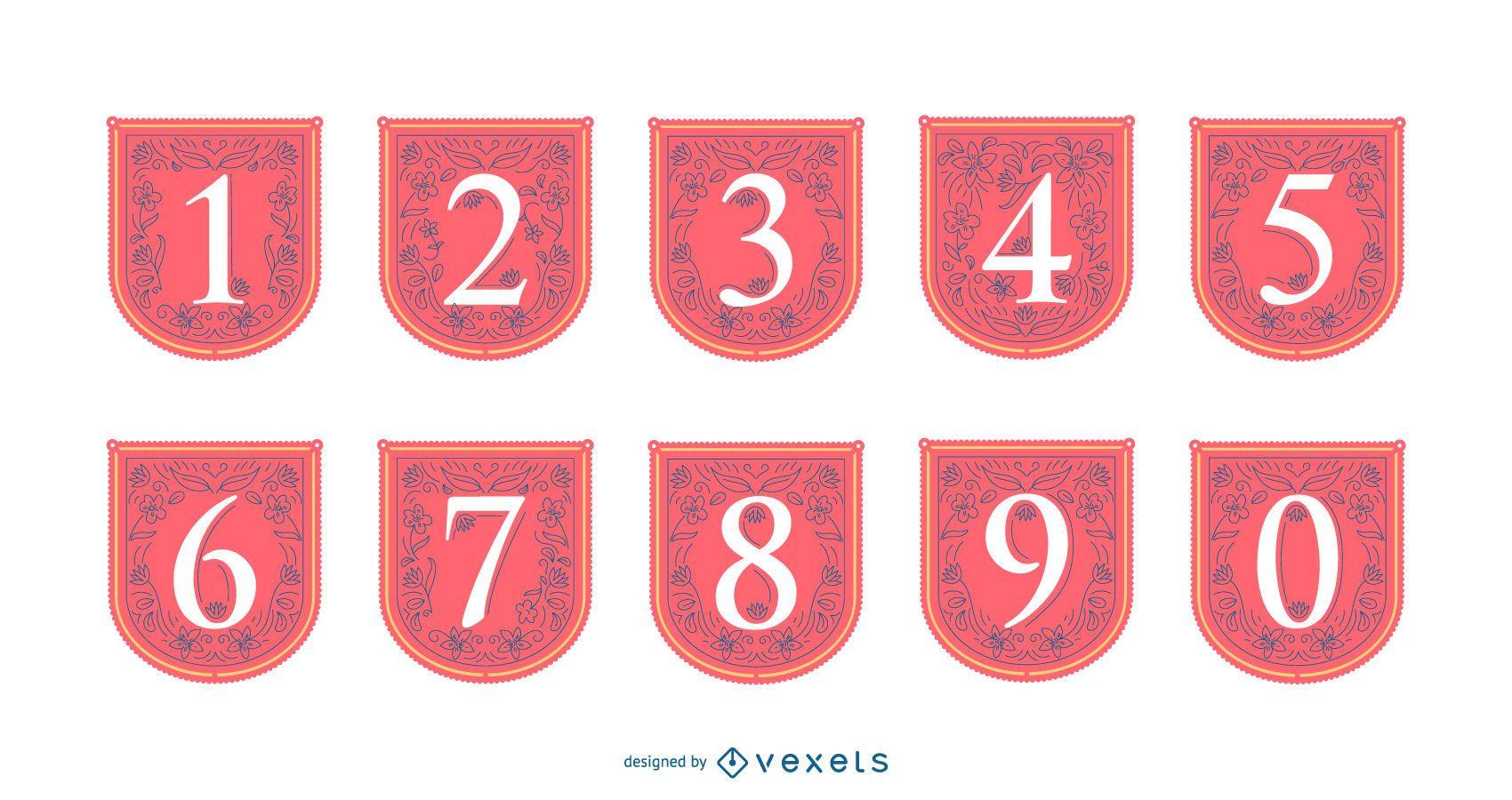 Conjunto de banners de números de primavera