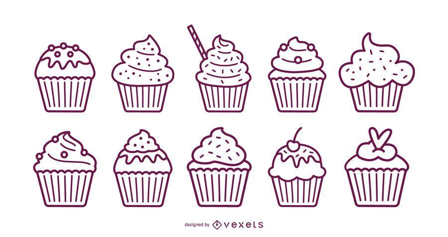 Cupcakes stroke set
