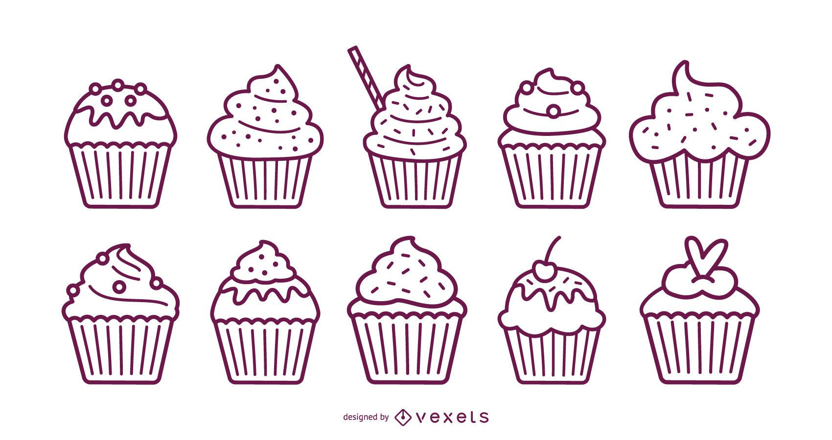 Conjunto de trazos de cupcakes