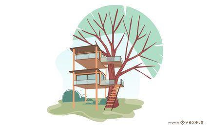 Projeto da ilustração da casa na árvore