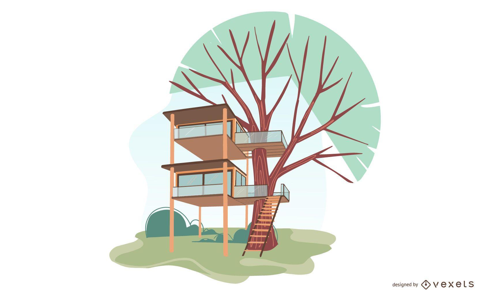 Projeto de ilustração de casa na árvore
