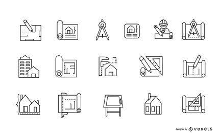 Conjunto de iconos de arquitectura