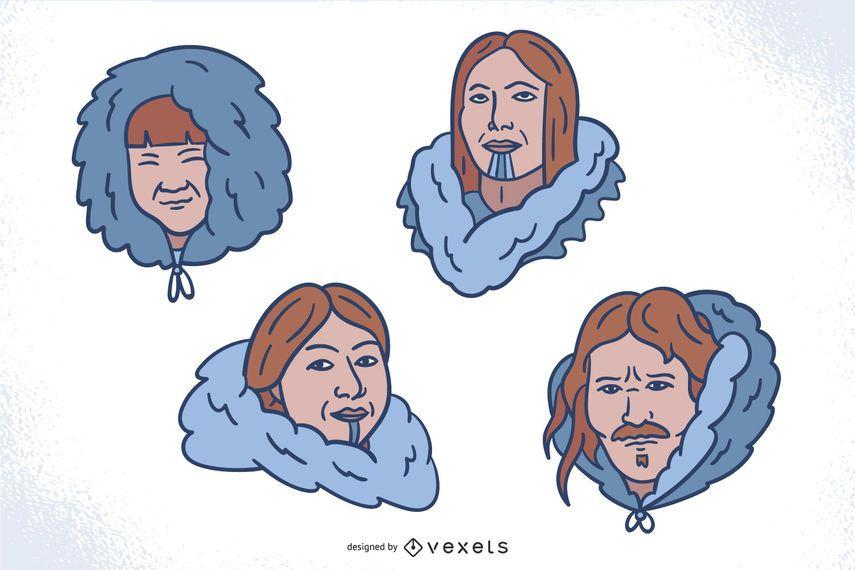 Handgezeichnetes Eskimokopfset