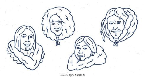 Hand Drawn Eskimo Stroke Cartoon Pack