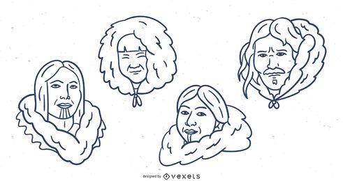 Pacote de desenhos animados de traço esquimó desenhado à mão