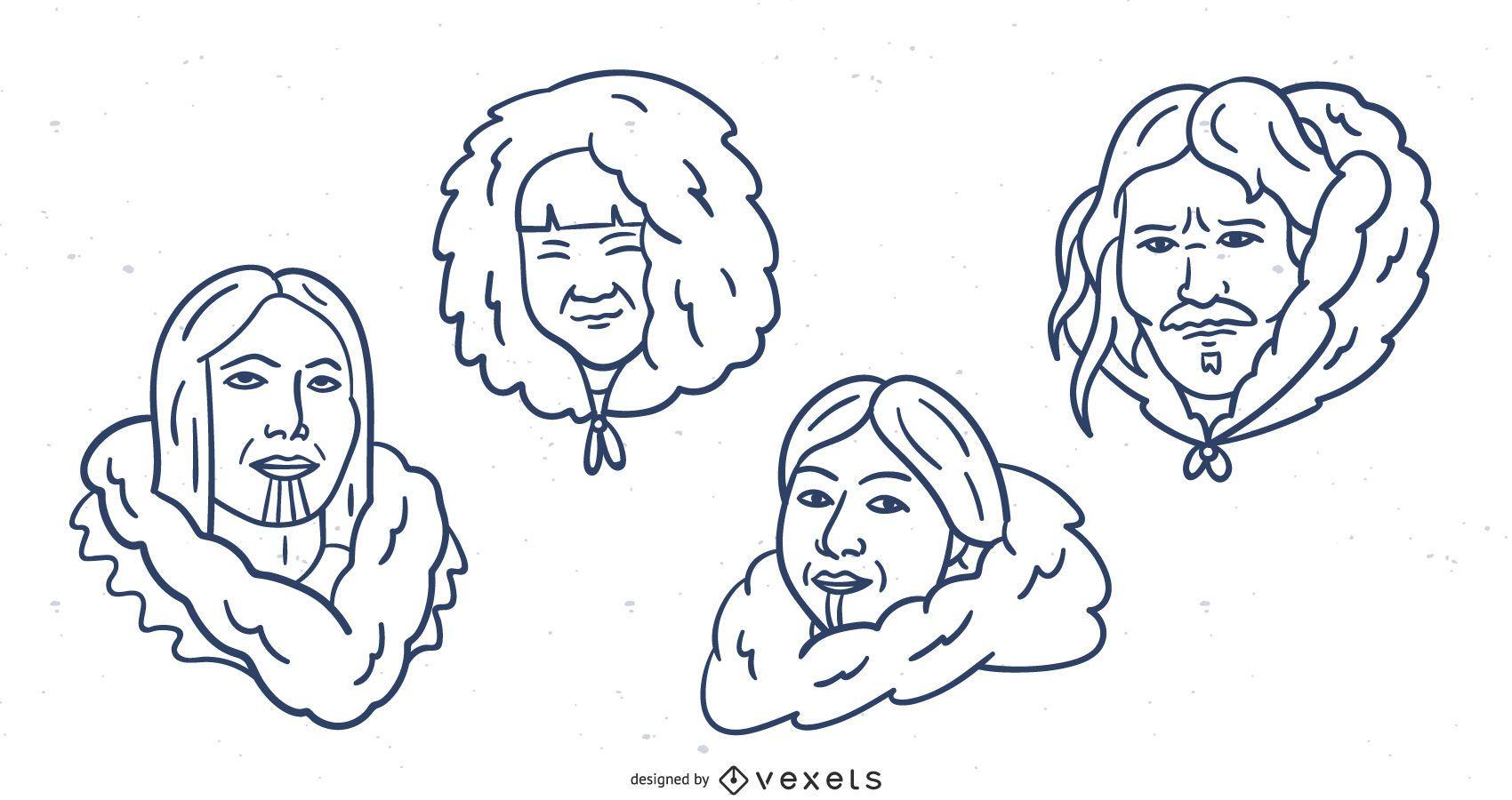 Hand Drawn Eskimo Stroke Cartoon Pack