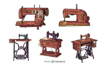 Conjunto de máquinas de costura vintage
