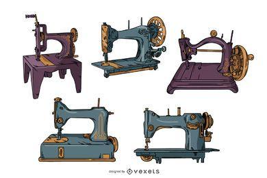 Conjunto de ilustração de máquinas de costura vintage