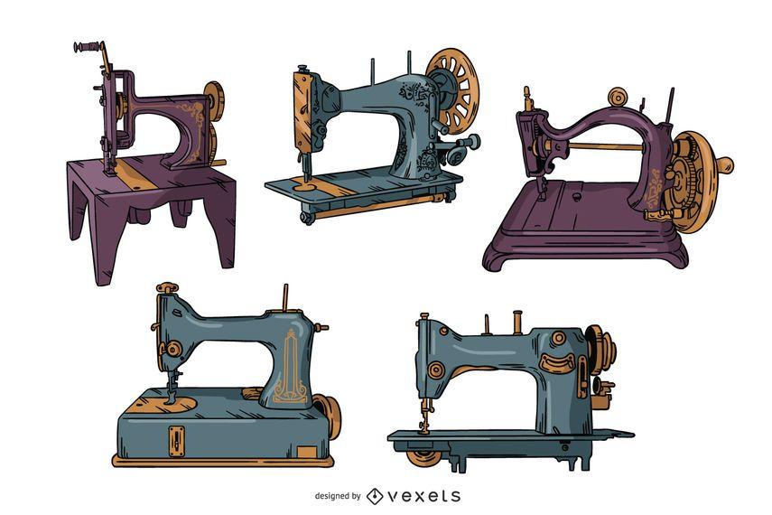 Vintage sewing machines illustration set