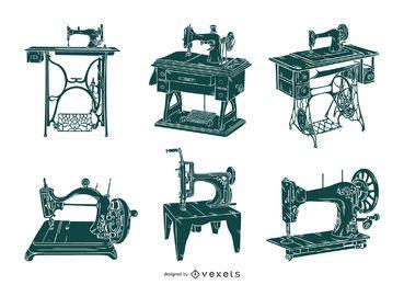 Conjunto de máquinas de costura antiga