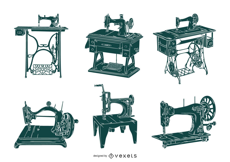 Old sewing machines set