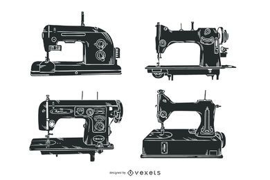 Old sewing machines illustration set