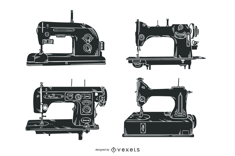 Conjunto de ilustração de máquinas de costura antigas