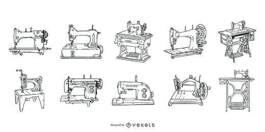 Conjunto de trazos de máquinas de coser antiguas