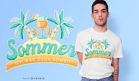 Design de camiseta com citações alemãs de verão
