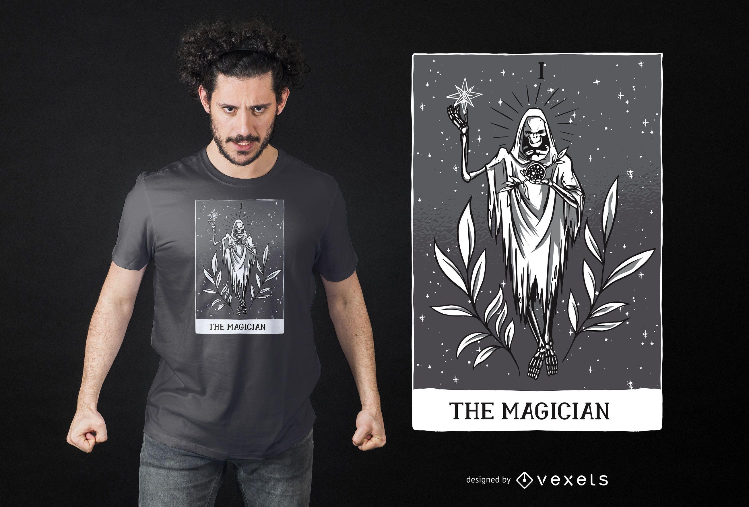Cartão de Tarô Escuro Design de Camiseta do Mágico