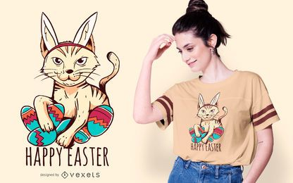 Diseño feliz de la camiseta del gato de pascua