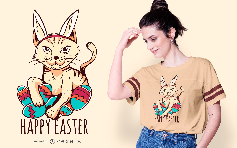 Happy easter cat t-shirt design
