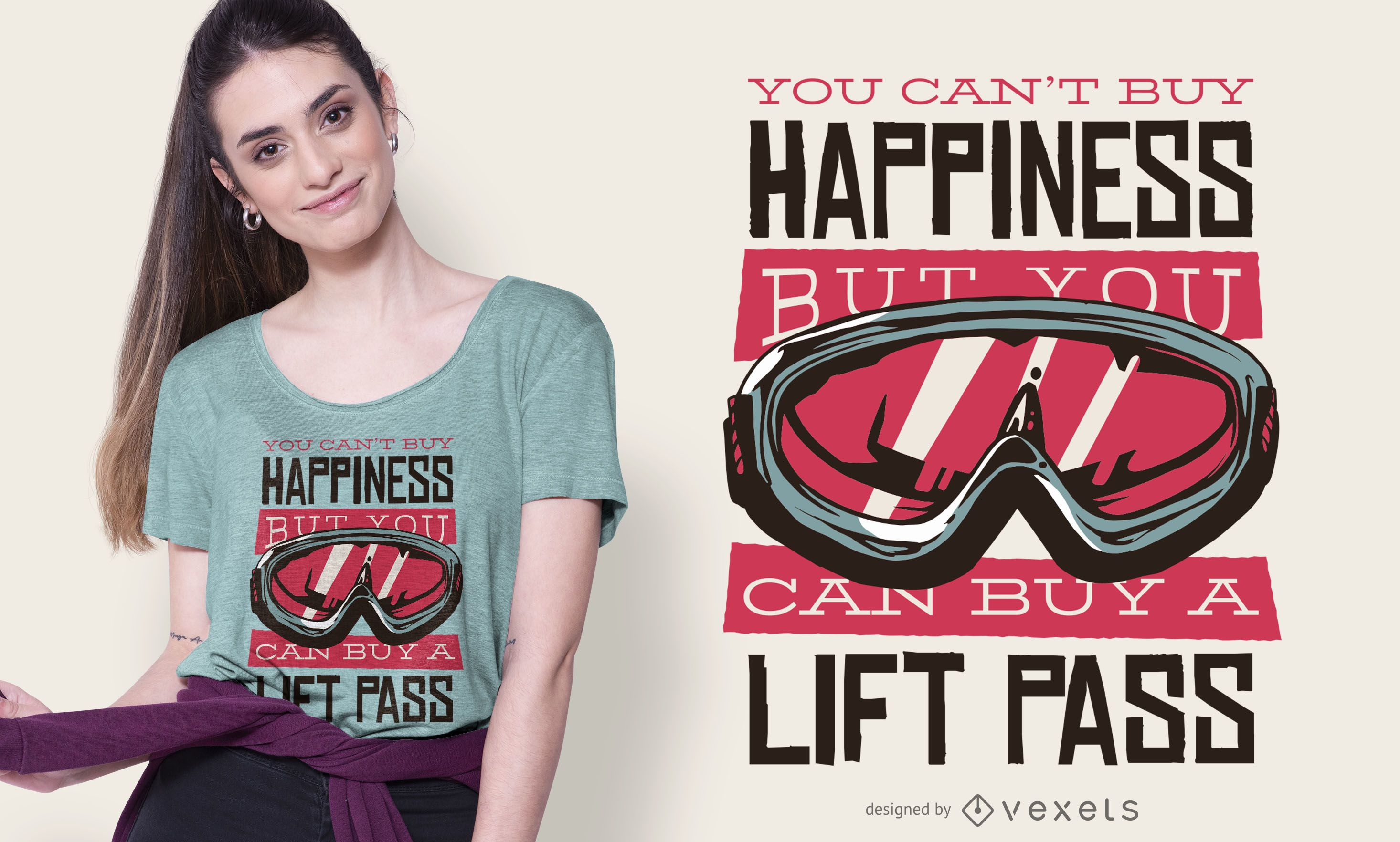 Diseño de camiseta con cita de pase de elevación