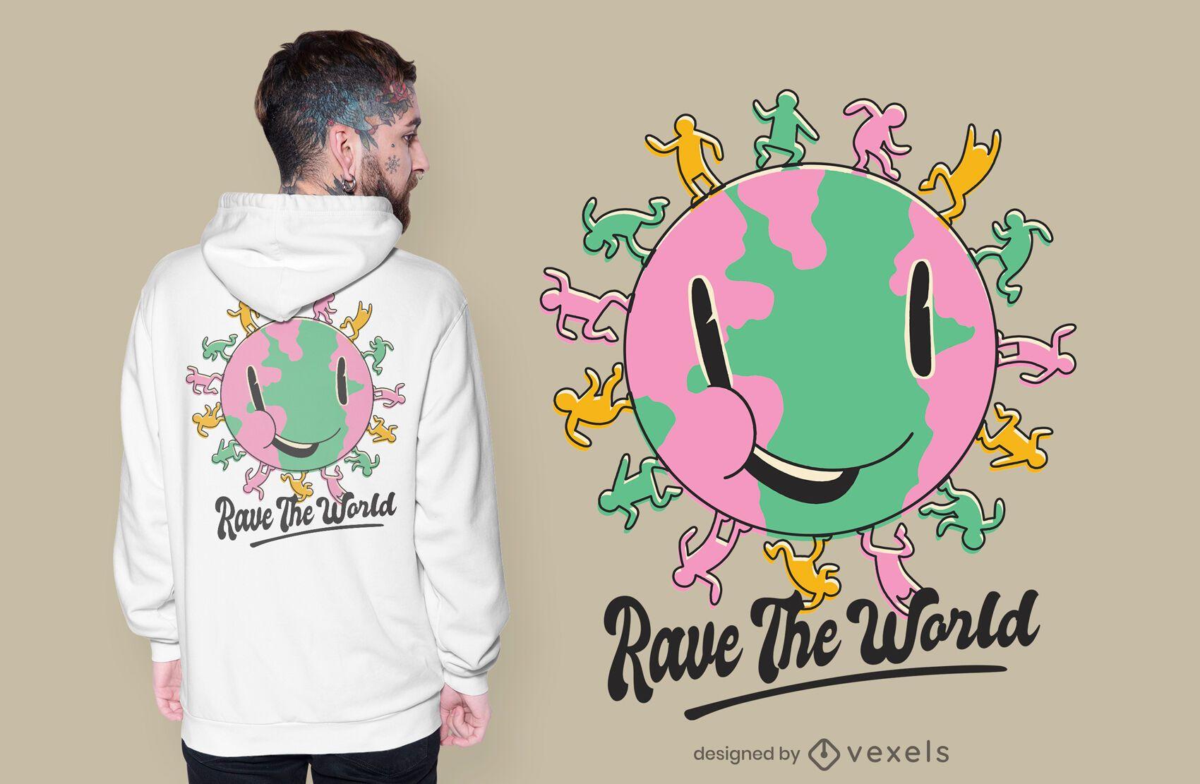 Rave the planet t-shirt design