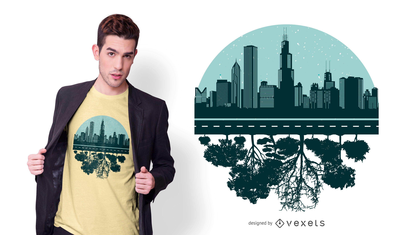 Design de camiseta com o horizonte de árvores de Chicago