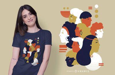 Diseño de camiseta abstracta de personas
