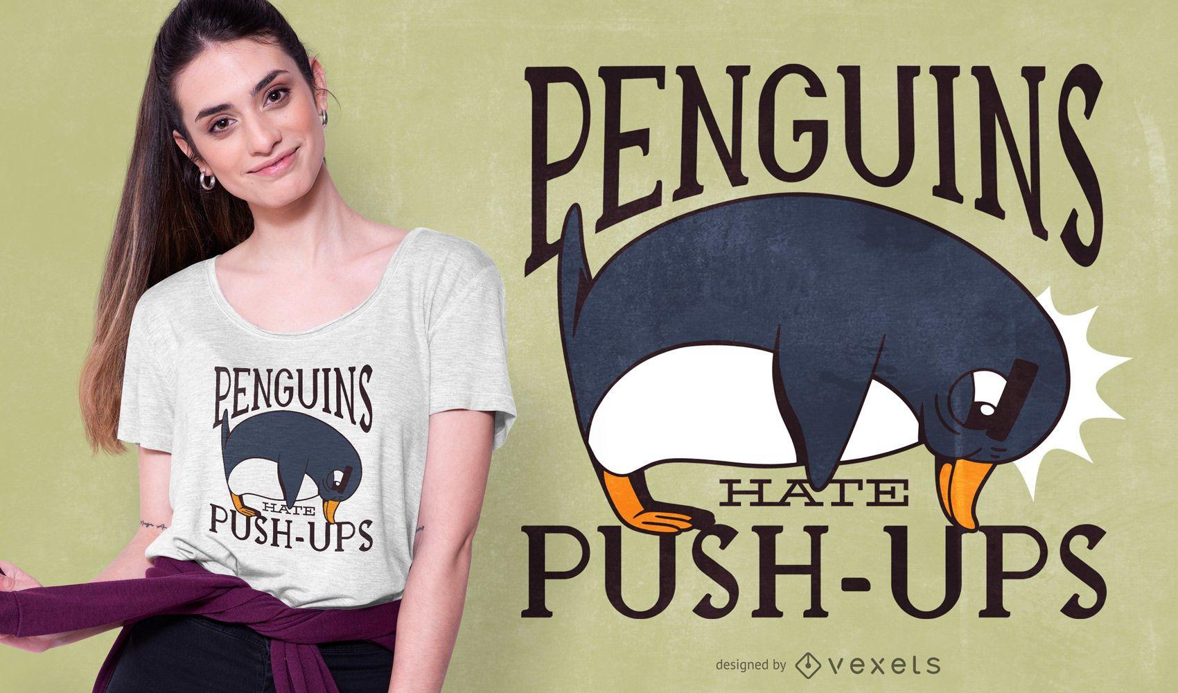 Diseño de camiseta de cita divertida de pingüino