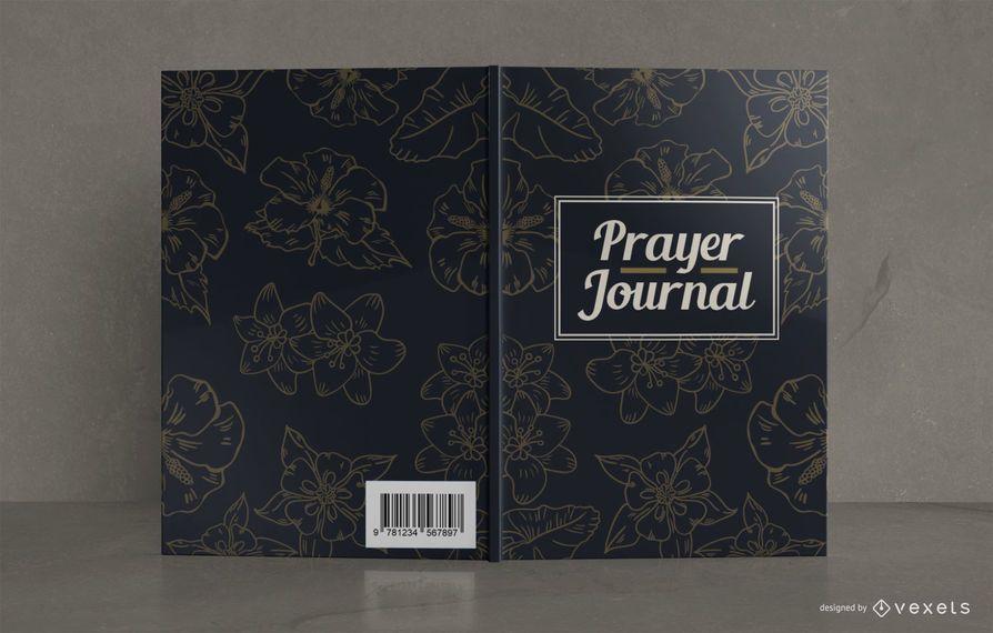 Diseño de portada de libro de diario de oración floral