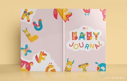 Design bonito da capa do livro do jornal do bebê