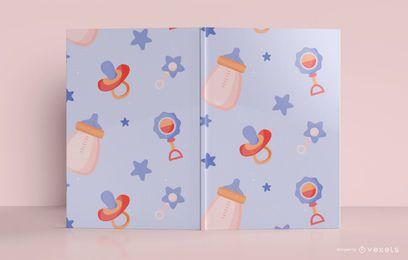 Design de capa de livro de jornal de padrão de bebê
