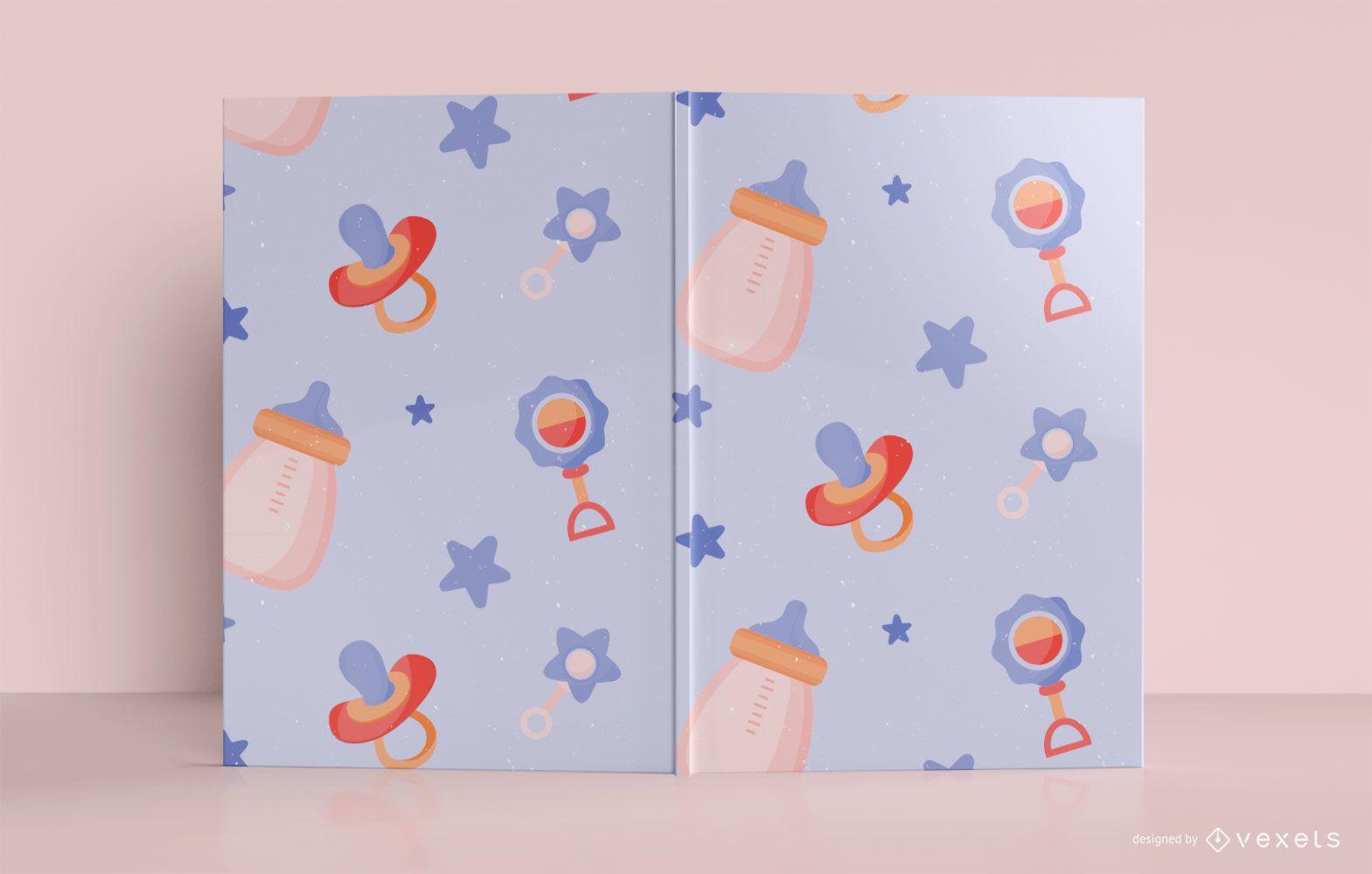 Diseño de portada de libro de diario de patrón de bebé