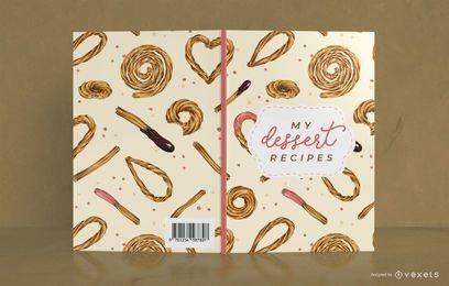 Design de capa de livro de receita de sobremesa