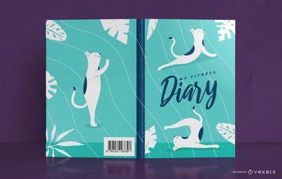 Diseño de portada de libro de diario de gato de yoga