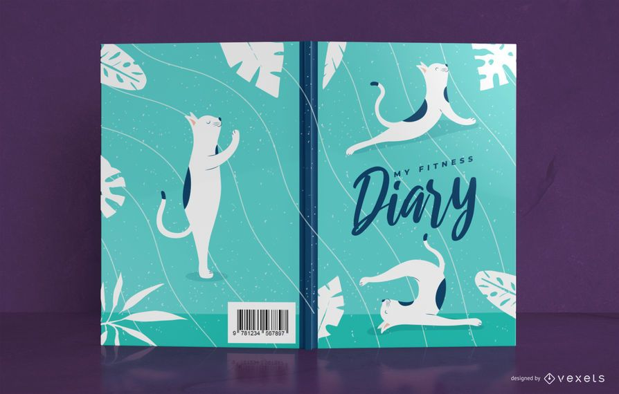 Yoga cat Diary Book Cover Design