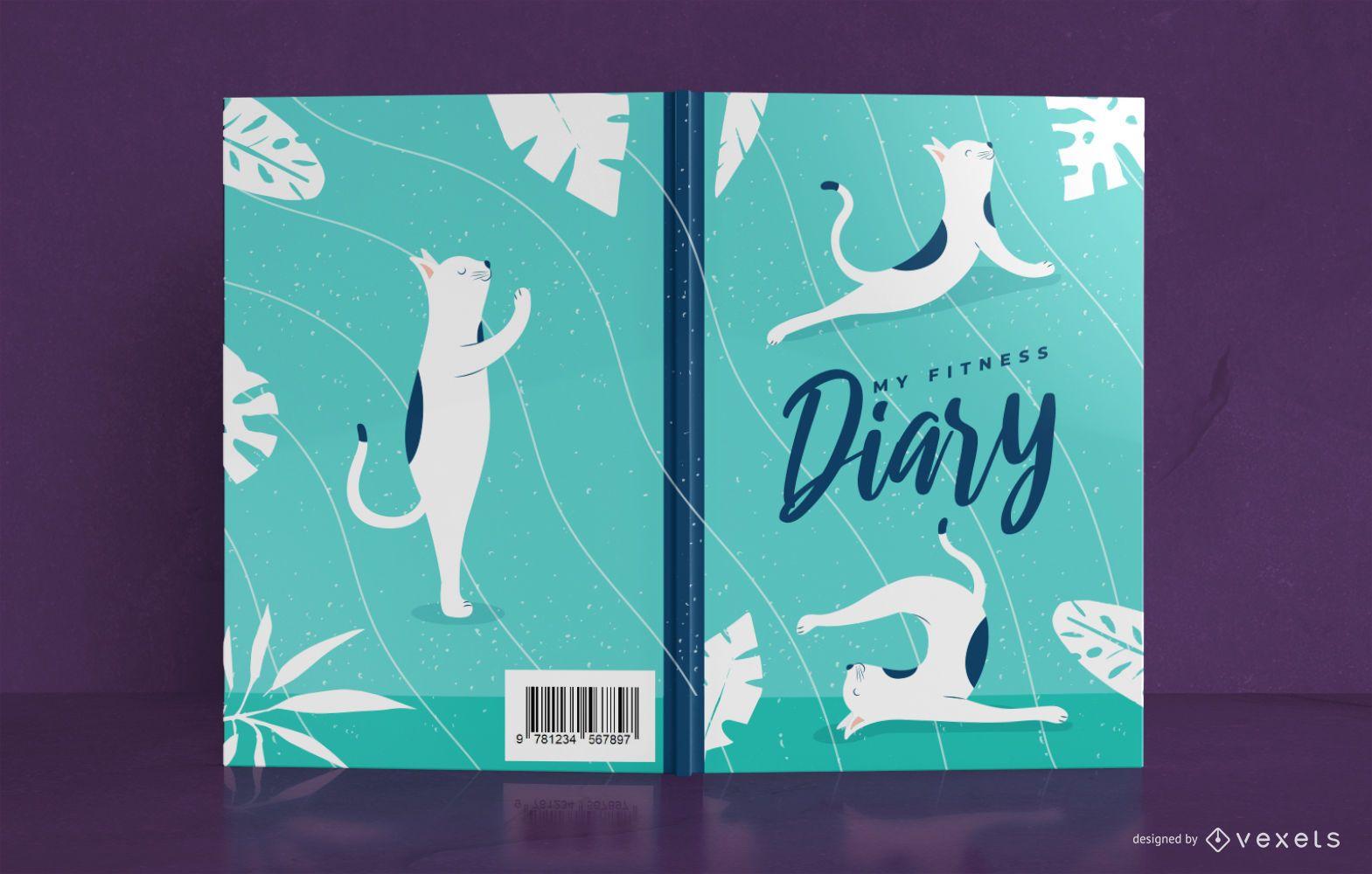 Design da capa do livro do diário do gato para ioga