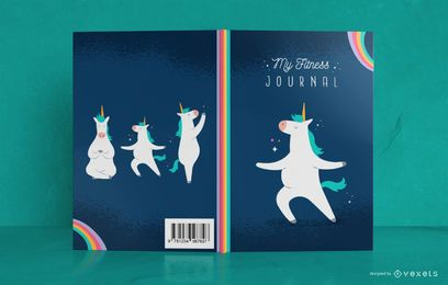 Diseño de portada de libro Unicorn Fitness Journal