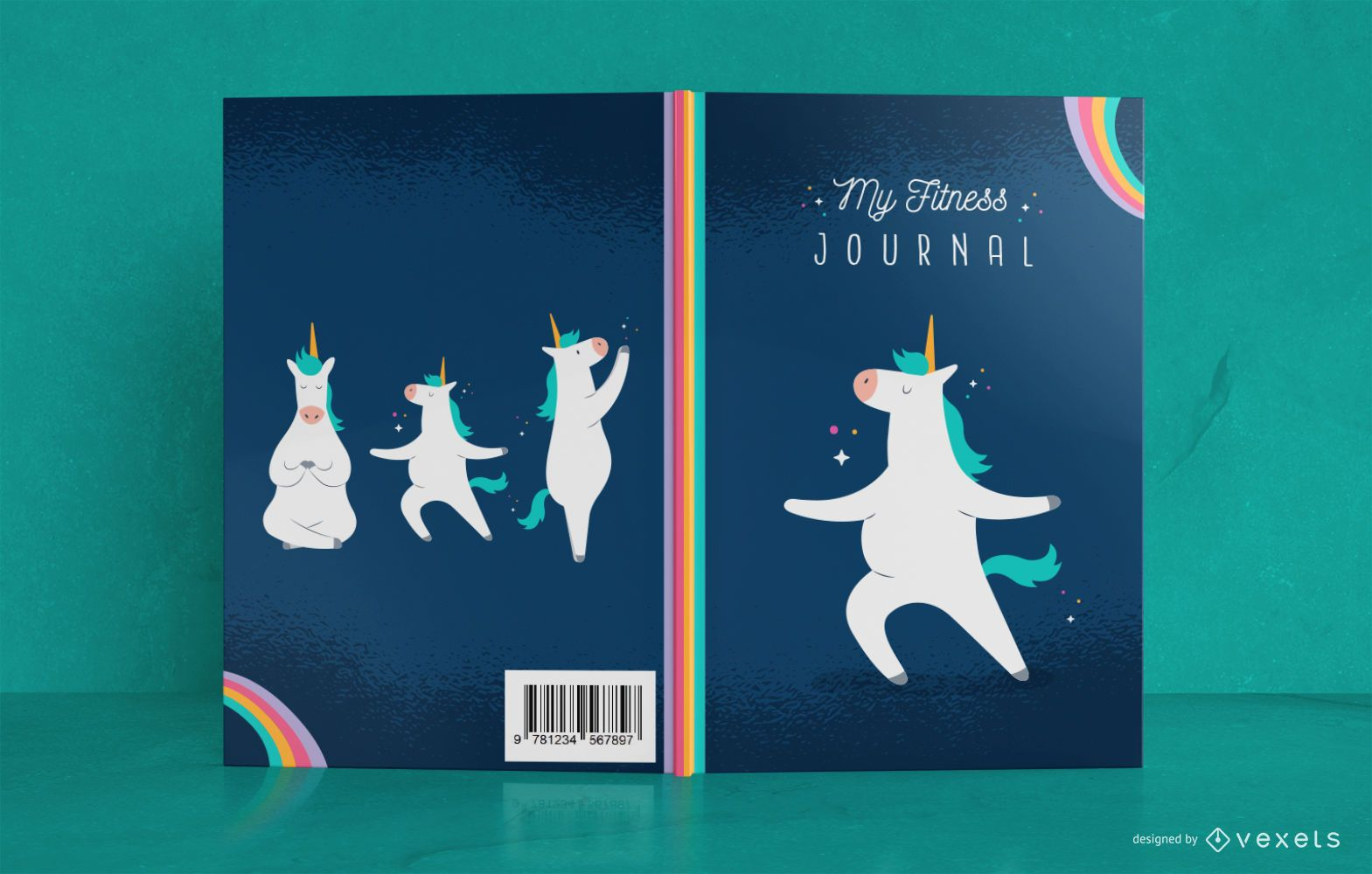 Diseño de portada de libro Unicorn Fitness Journal