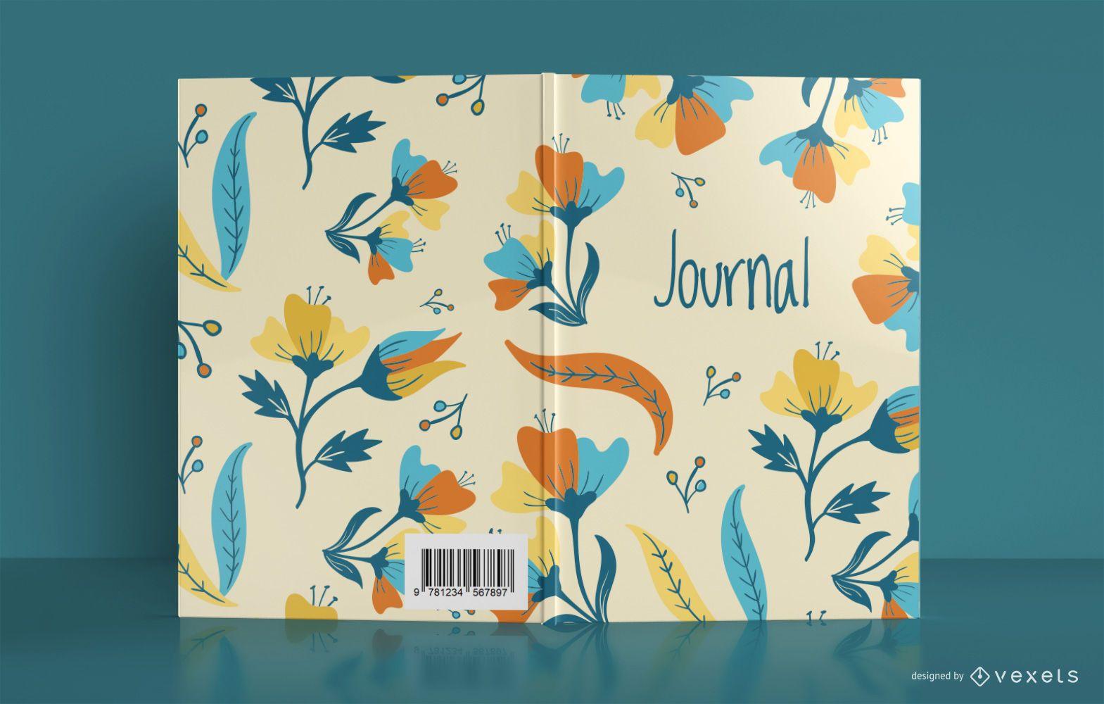 Diseño de portada de libro de diario de flores
