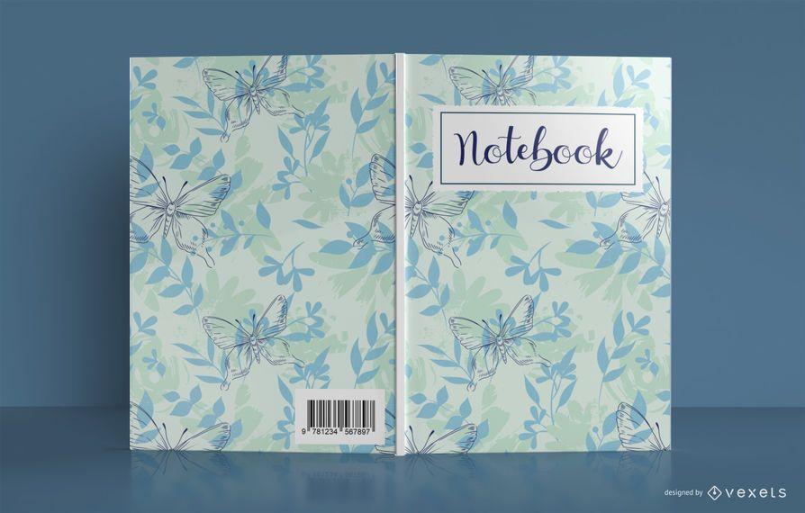 Diseño de portada de libro de cuaderno de mariposa floral