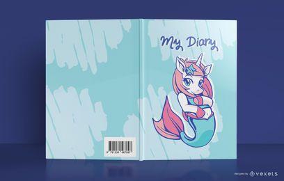 Diseño de portada de diario de sirena de unicornio