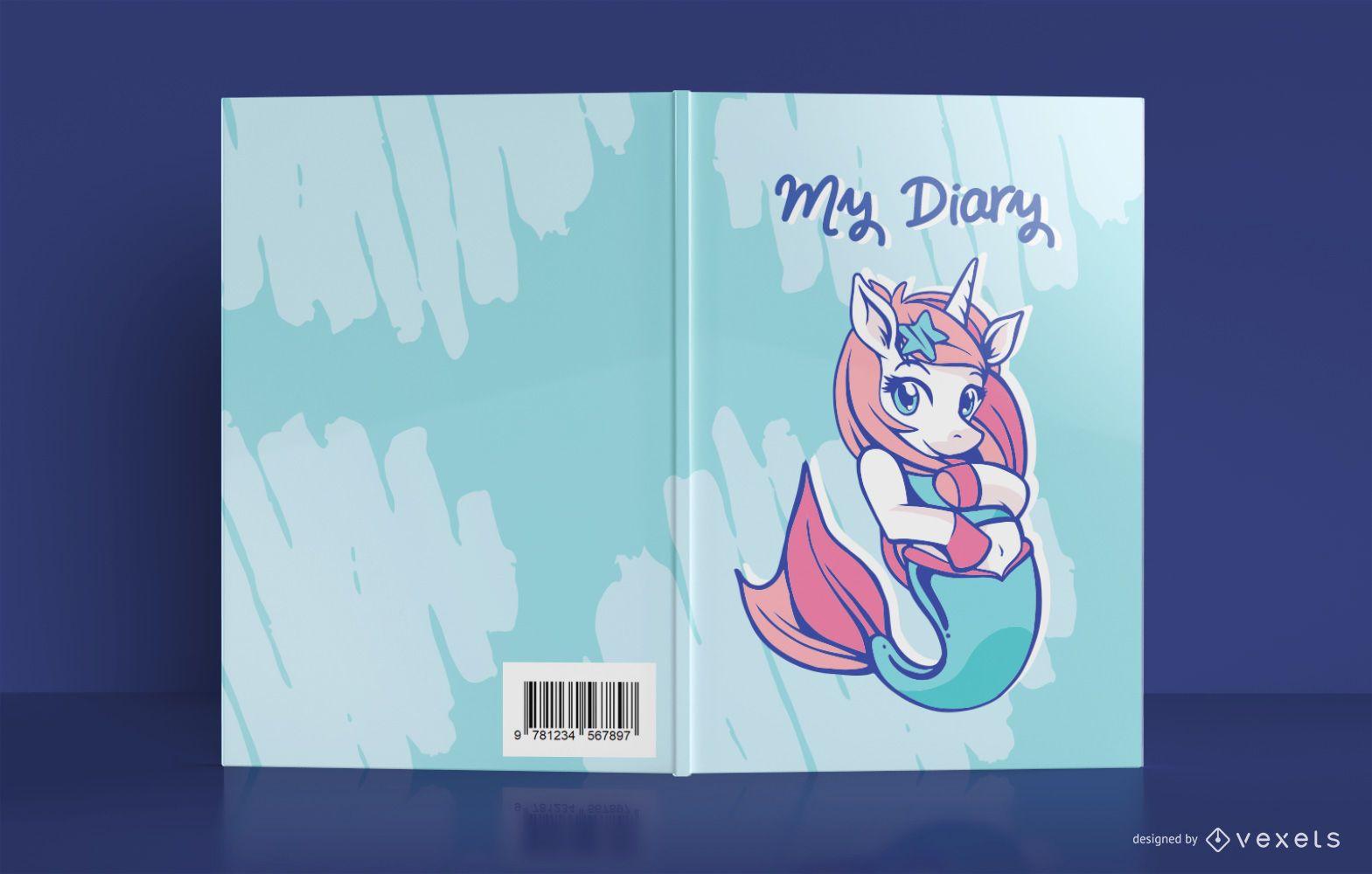 Diseño de portada de diario de sirena unicornio