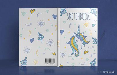 Diseño de portada de libro de Doodle de unicornio
