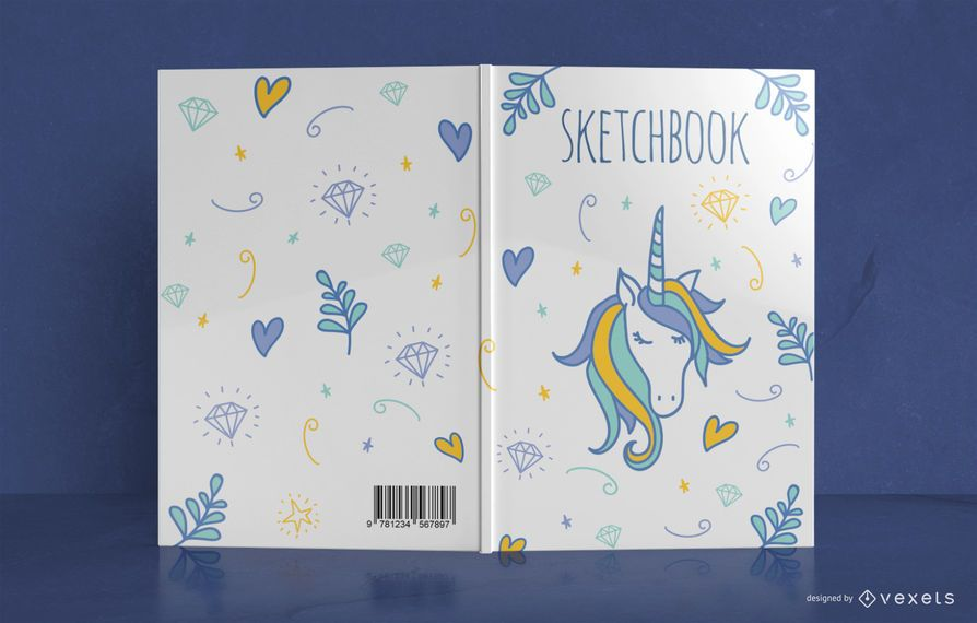 Design de capa de livro de doodle de unicórnio