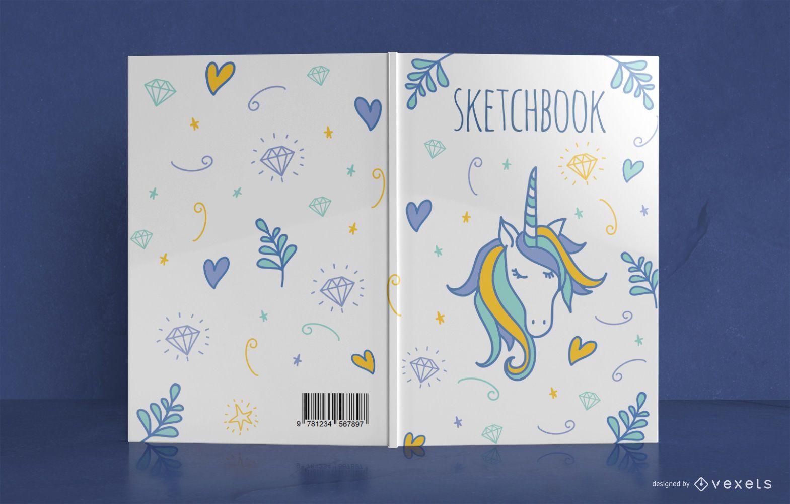 Diseño de portada de libro Doodle de unicornio