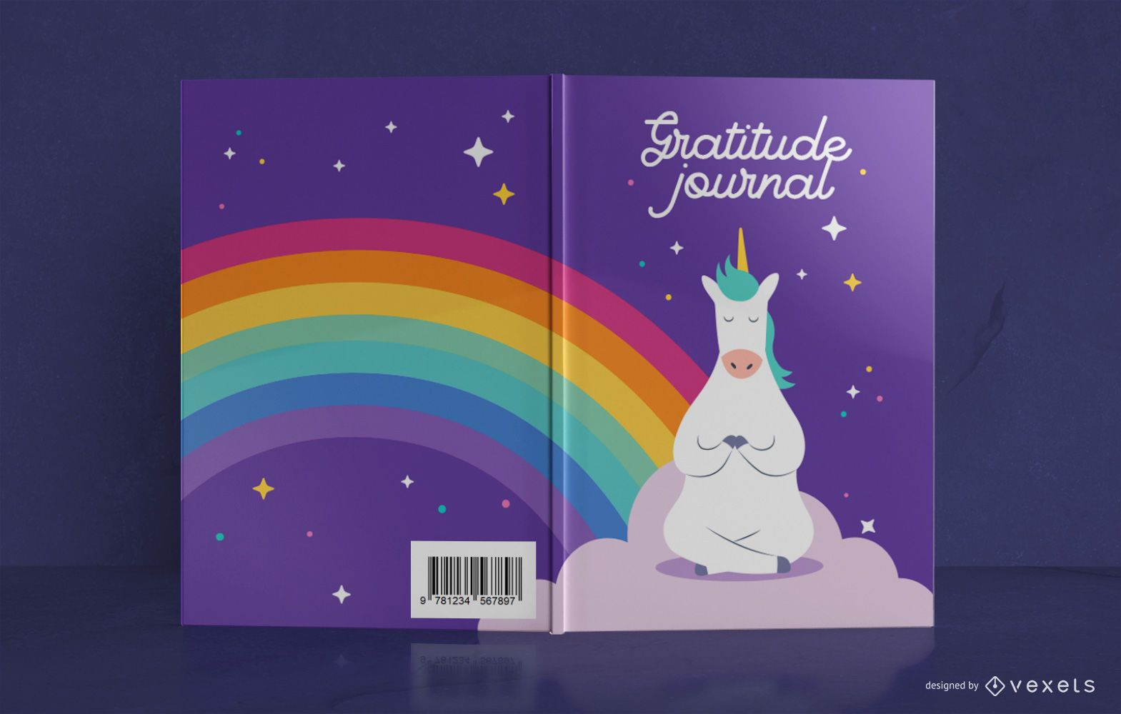 Design da capa do livro Unicorn Gratitude Journal