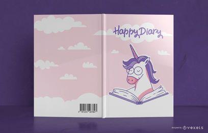 Diseño de portada de libro de diario de unicornio