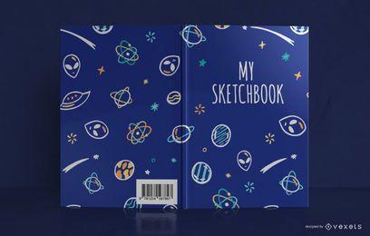 Design de capa de livro de desenho de doodle de espaço