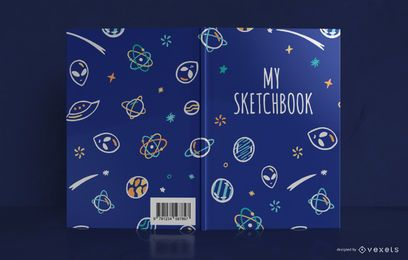 Space Doodle Sketchbook Buchumschlag Design