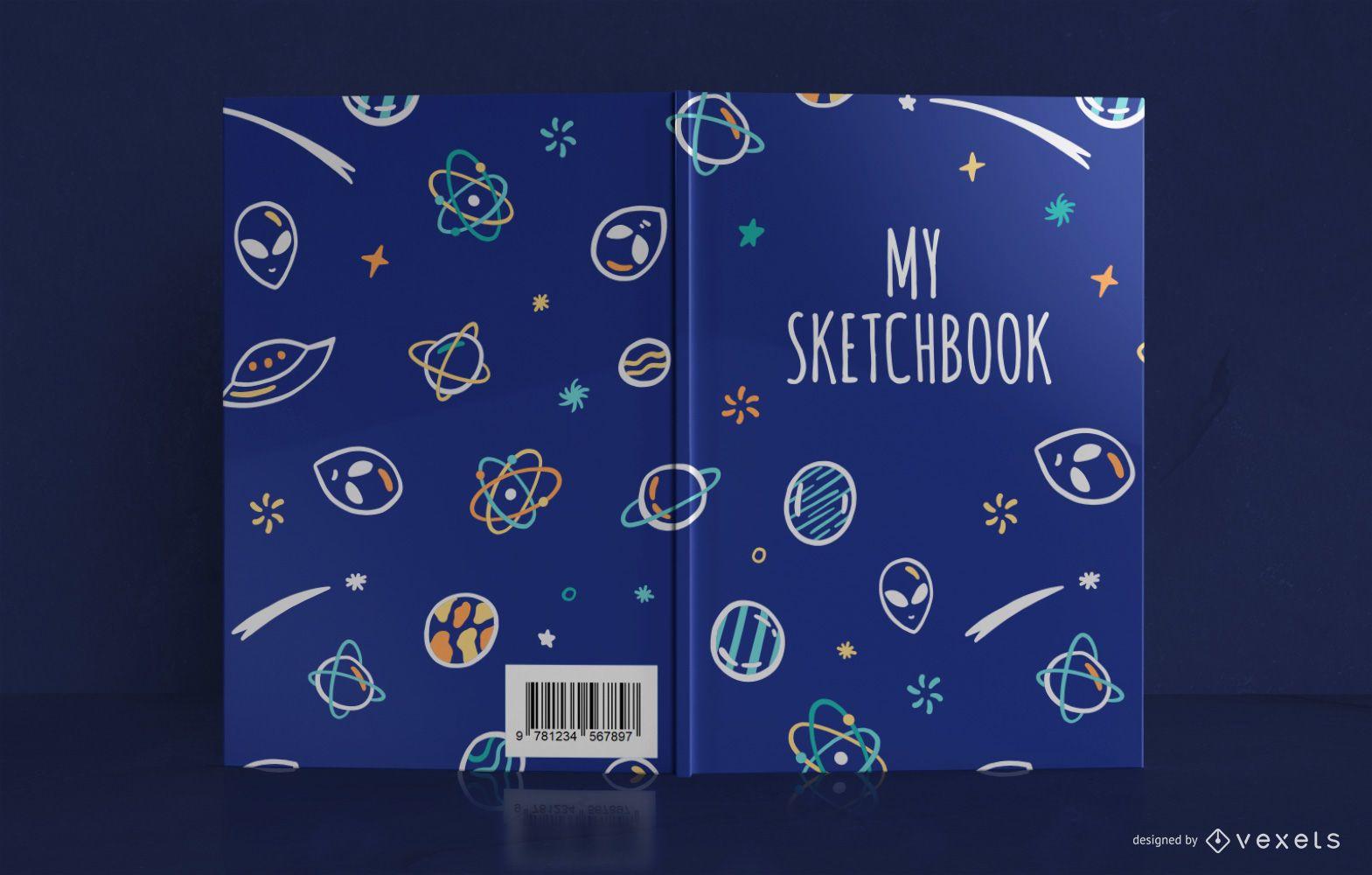 Design da capa do livro do espaço Doodle Sketchbook