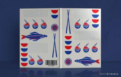 Diseño de portada de libro de comida japonesa